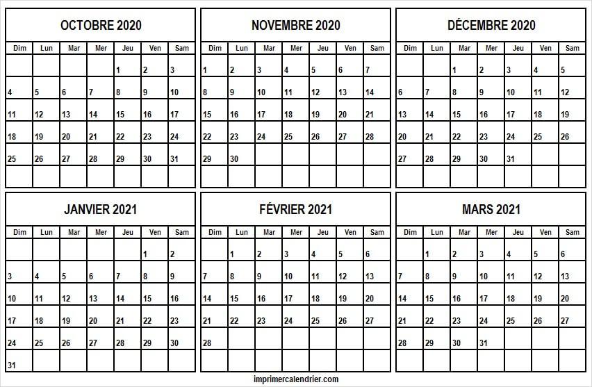 Calendrier Octobre 2020 a Mars 2021 a Imprimer   Calendrier Vierge