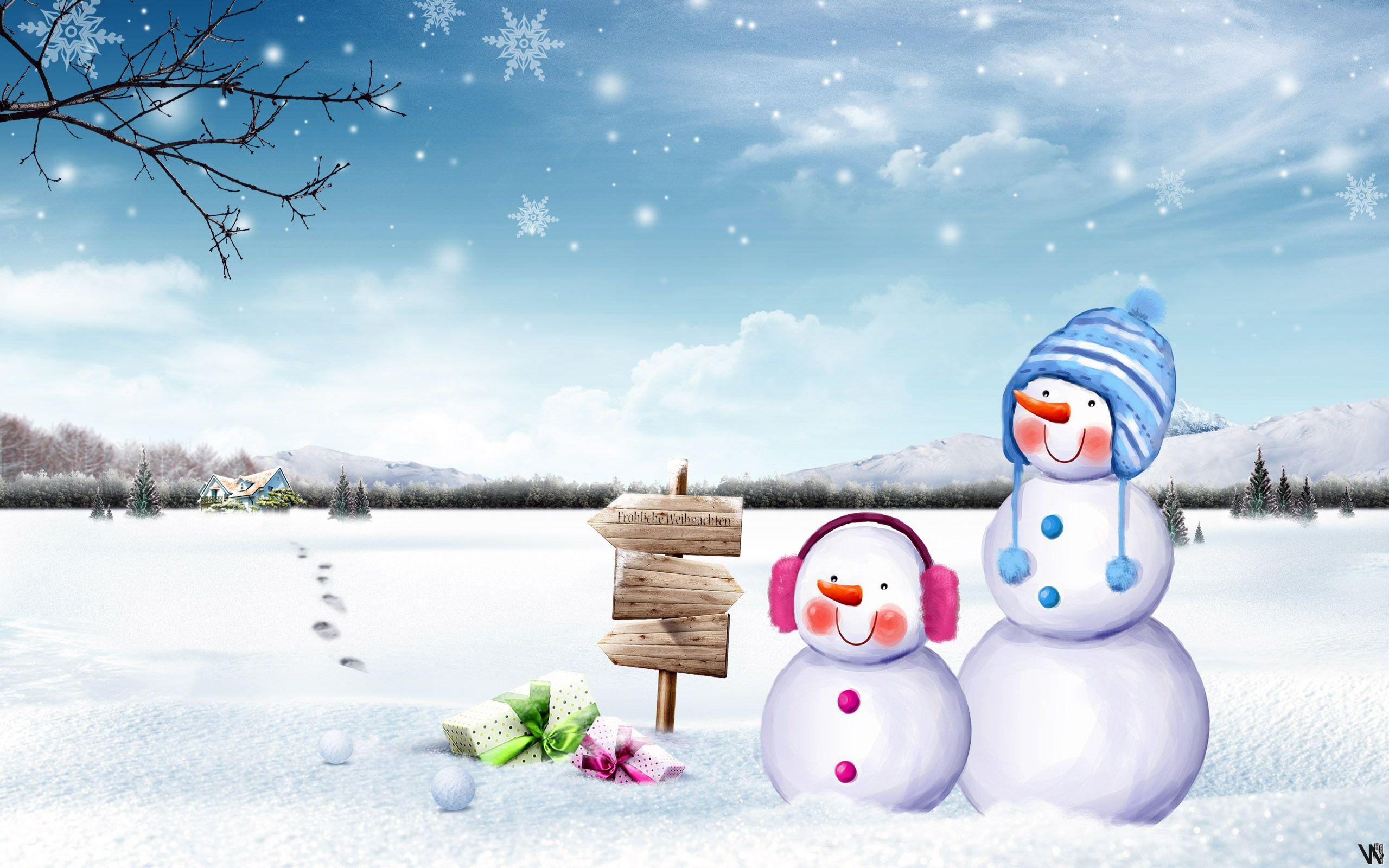 HD Cute Snowmen Wallpaper