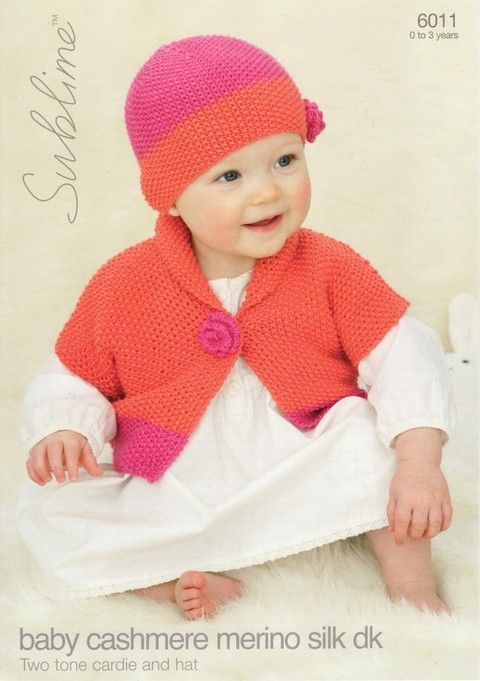 Sublime Baby Cardigan /& Hat Cashmere Merino Silk Knitting Pattern 6011 D...