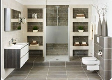 grote badkamer met planken/use wood inside niches | bathroom ...