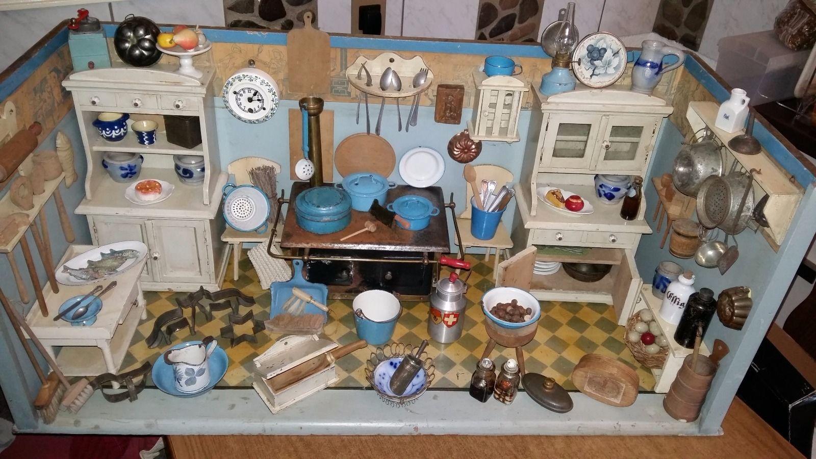 puppenstube k che emaille porzellan holz blech glas schaugerichte antik in antiquit ten kunst. Black Bedroom Furniture Sets. Home Design Ideas