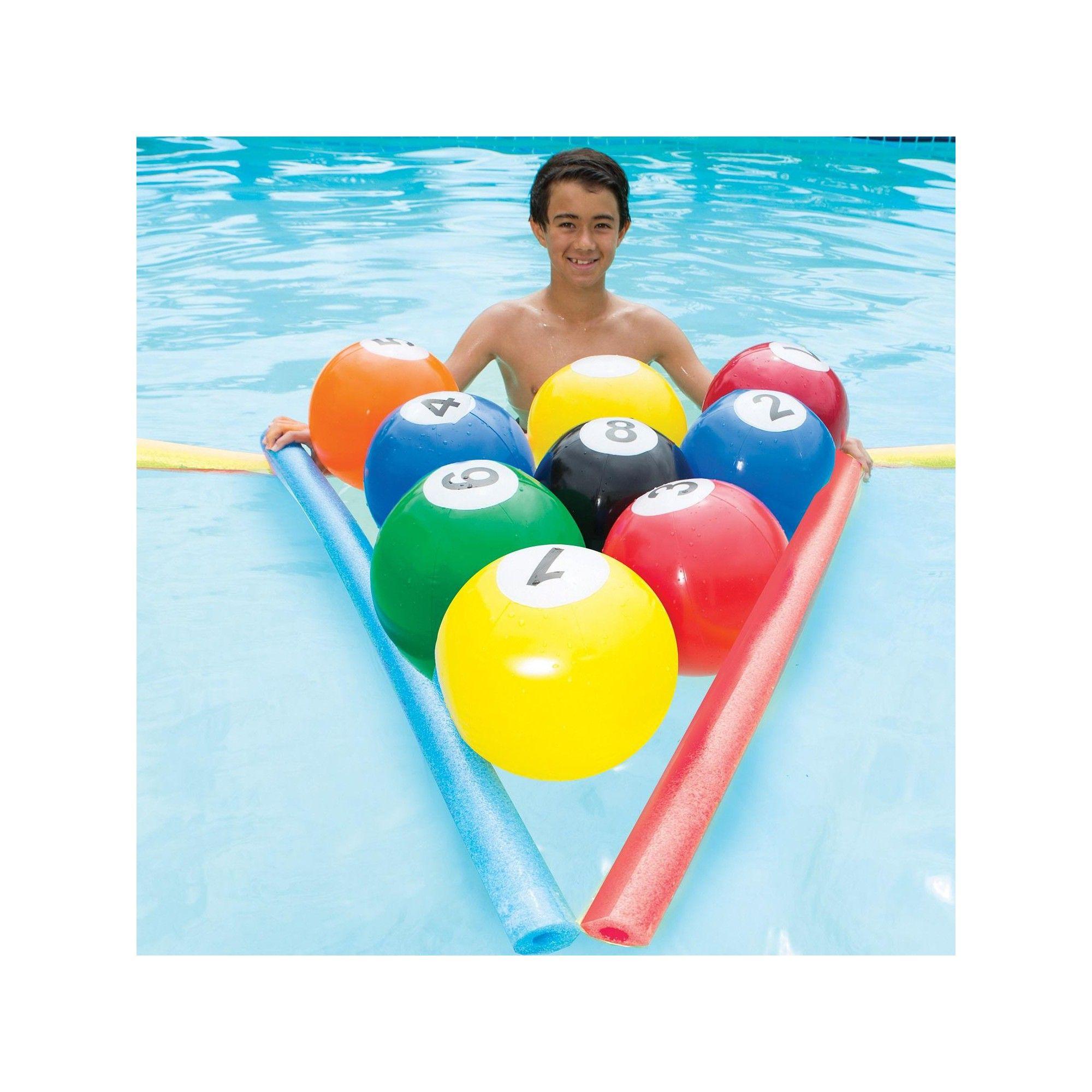Swim Way 10-pc Blow-Up Billiards Inflatable Beach Ball Swimming Pool ...
