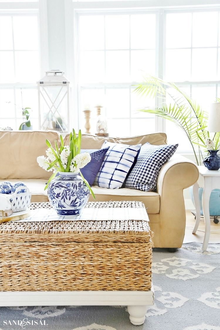 Blue and White Spring Living Room Tour | Room tour, Living rooms and ...