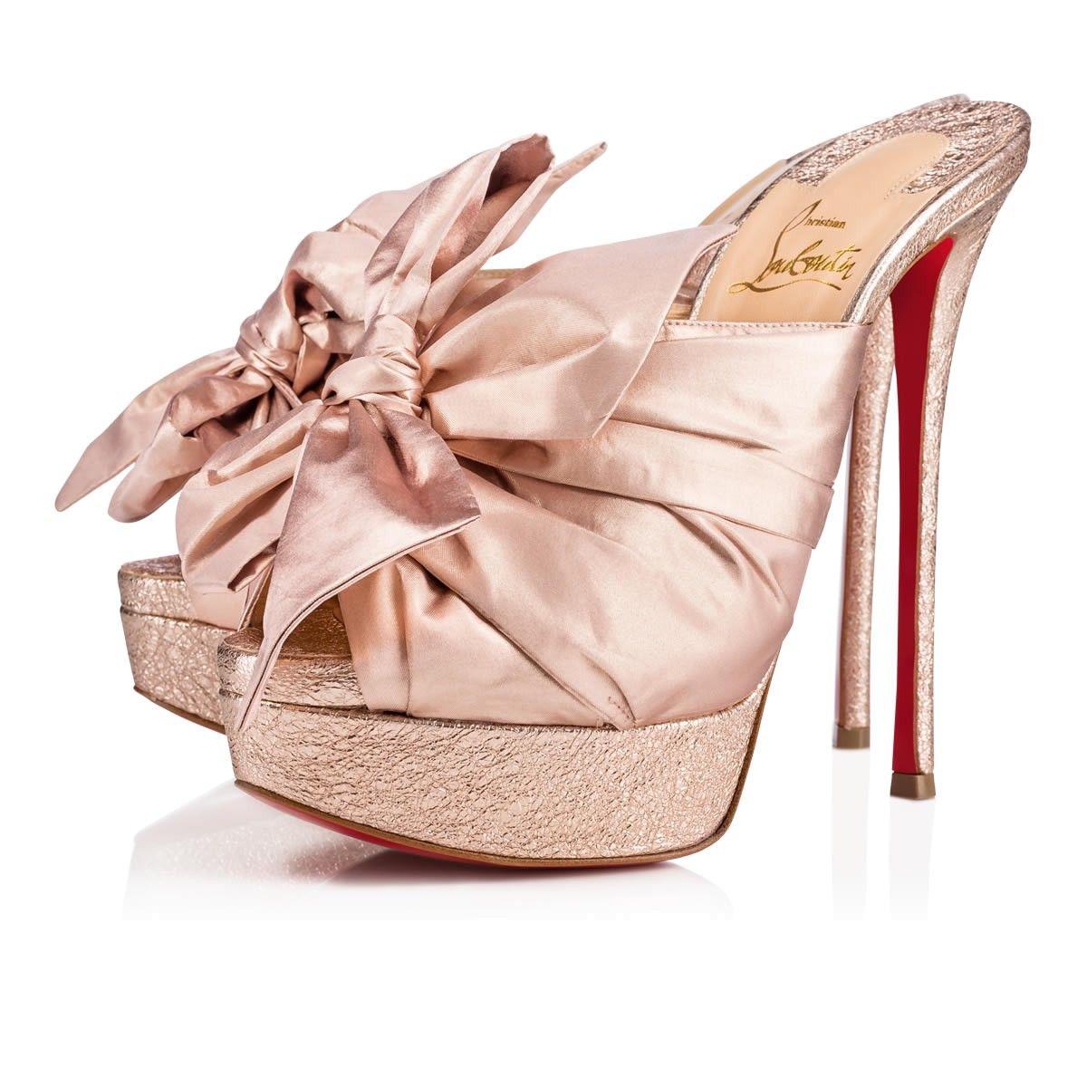221bcf547c3e0 MONIQUISSIMA SPECCHIO VINTAGE SOIE LAME 150 Rose Gold Silk - Women Shoes -  Christian Louboutin