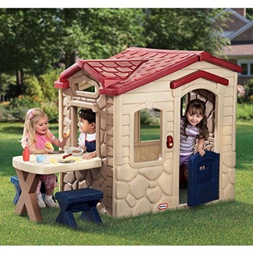 Plastic Outdoor Playhouse With Kitchen Inside For Toddlers To Small Children