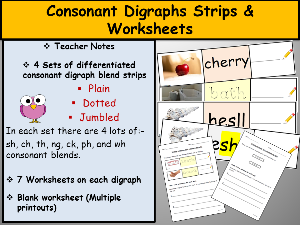 Printable Worksheets phonics worksheets phase 5 : Phonics-Consonant Digraph Strips and Worksheets, Teacher Notes ...