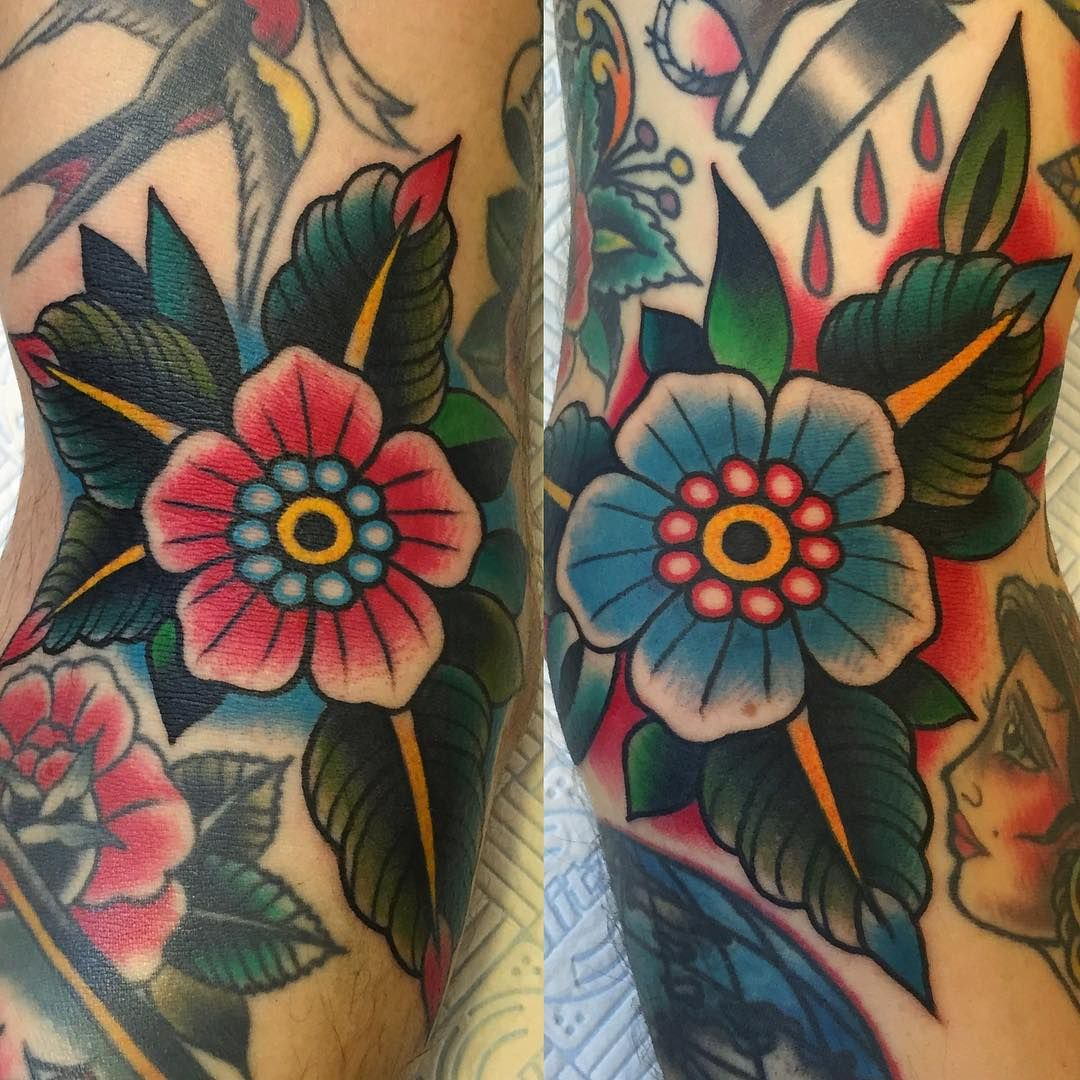 Traditional Flower Tattoos: Flower Power! Freehand On Ditch. Thank You Nicola
