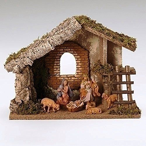 Fontanini 6 Piece Italian Christmas Nativity Set With Wooden Stable 54421  Italy    Click Image