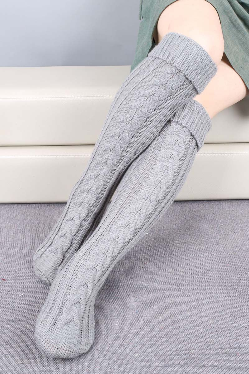 Cozy Cable Knit Long Boot Socks