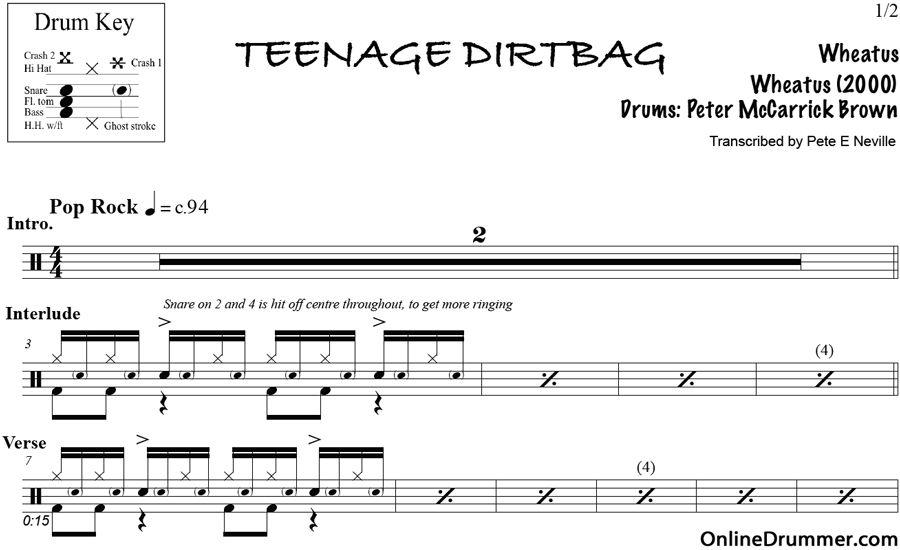 Teenage Dirtbag Wheatus Drum Sheet Music Wheatus
