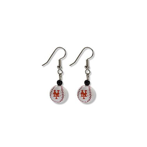 New York Mets Baseball Dangle Earrings