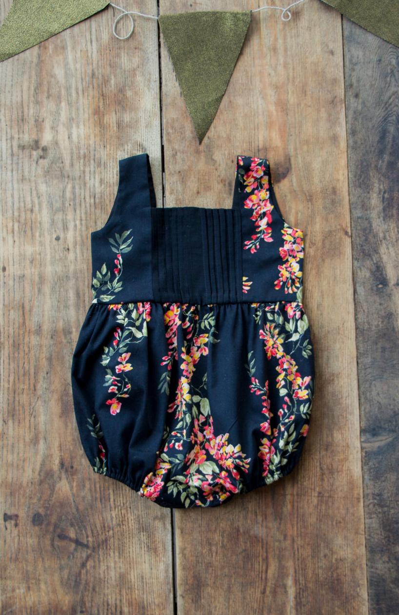 Floral Pleated Baby Romper / Manoko on Etsy | Babies got Swag Too ...