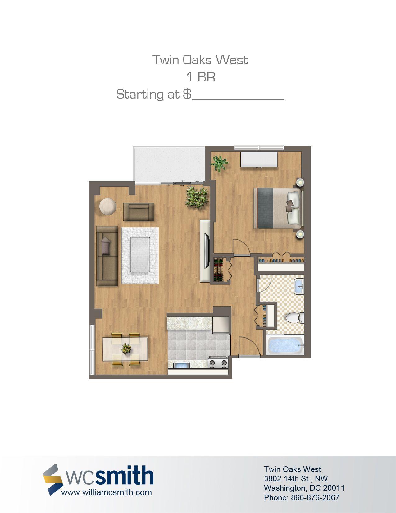 One Bedroom Floor Plan Twin Oaks in Northwest Washington