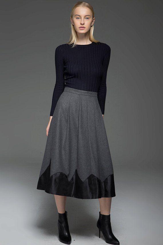 gray skirt, wool skirt, womens skirts, pleated skirt, winter skirt, long skirt, warm skirt, office skirt, gray wool skirt, work skirt C773
