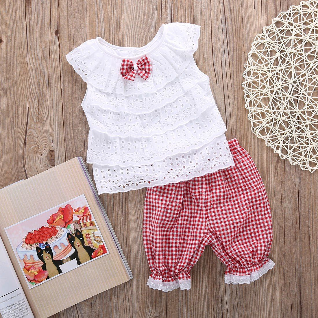 Adorable Toddler Baby Girls Lace Tops Floral Pants Trousers Outfits Set Clothes