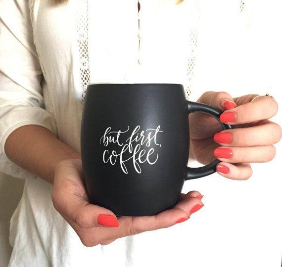 Matte Black Coffee Mug, calligraphy ceramic coffee mug handlettered ...