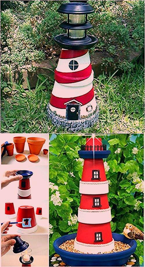 Photo of Charmingly Nautical DIY Garden Decoration: Clay Pot Lighthouse