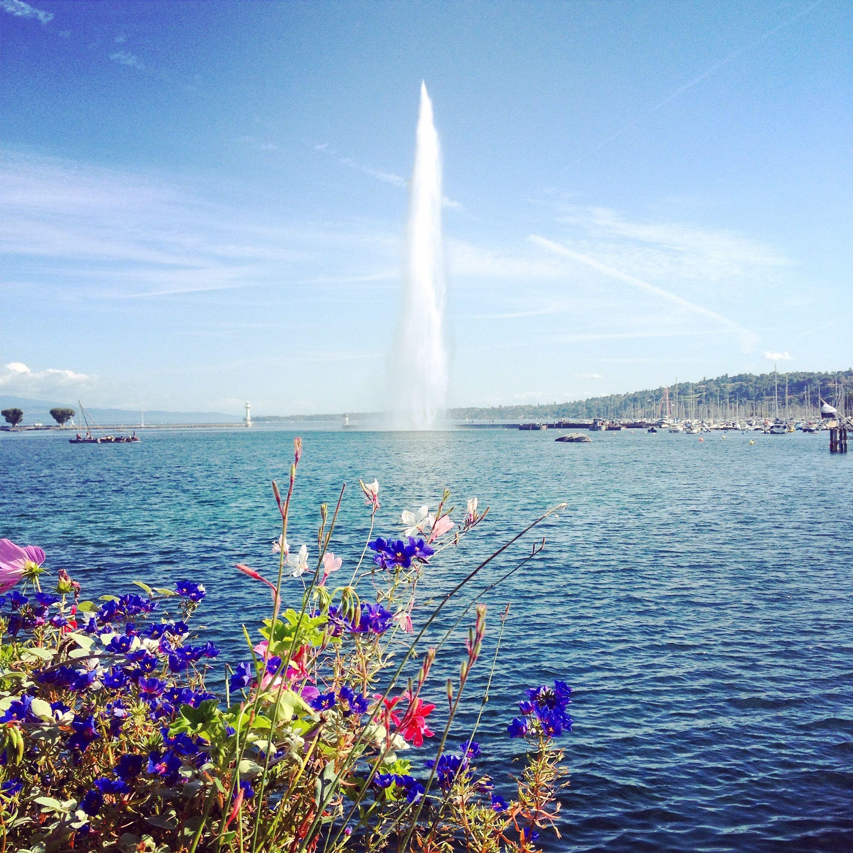 Lago Leman durante a primavera