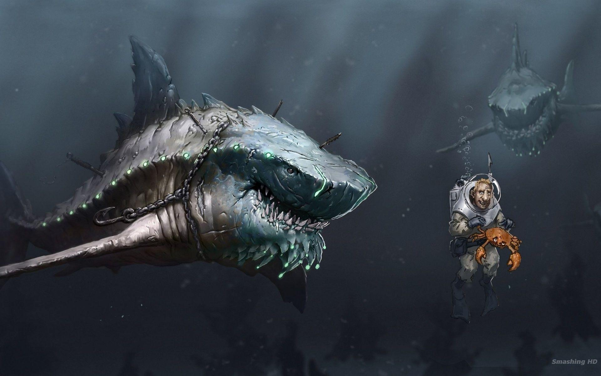 megalodon #predators #starvation #dark #ocean #wallpaper