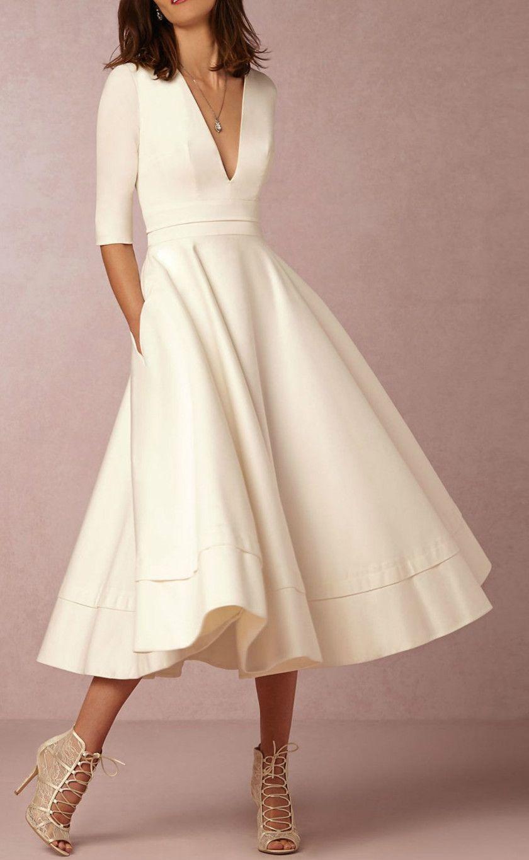 A-Line V Neck Half Sleeve Midi Party Dress | Hochzeitskleider ...