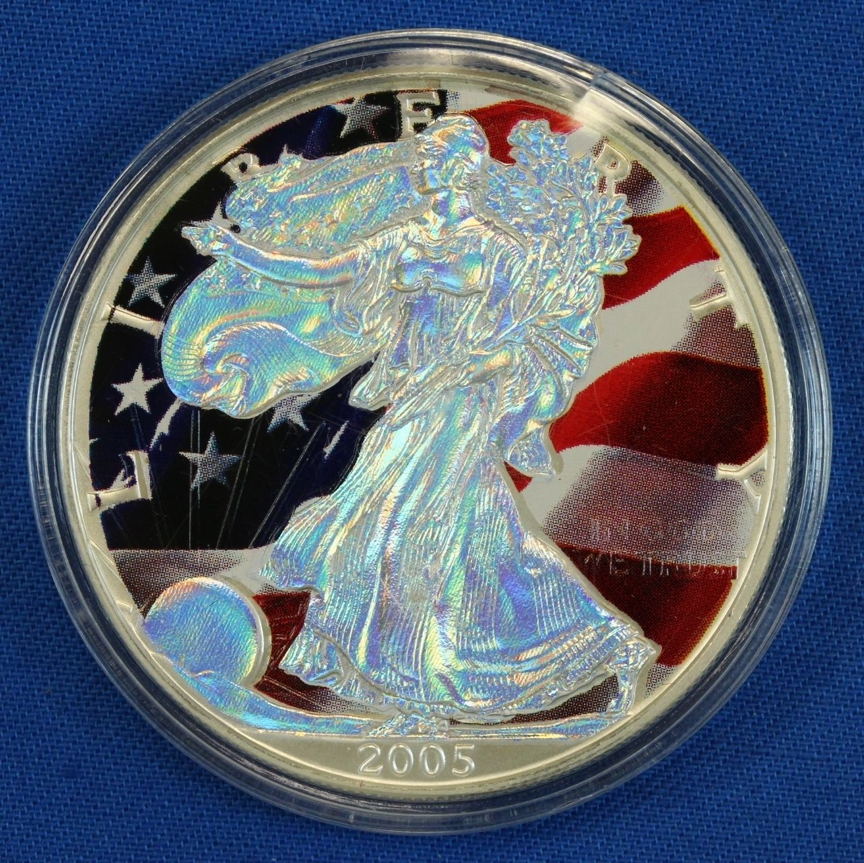 2005 Colorized Hologram American Eagle 1 One Dollar 1oz Fine Silver Coin Silver Coins Silver Bullion Rare Coins