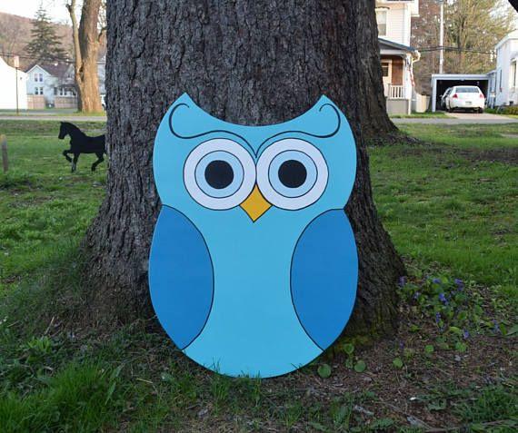 Owl Yard Stake, Blue Owl Garden Stake, Owl Yard Art, Wood Painted Owl
