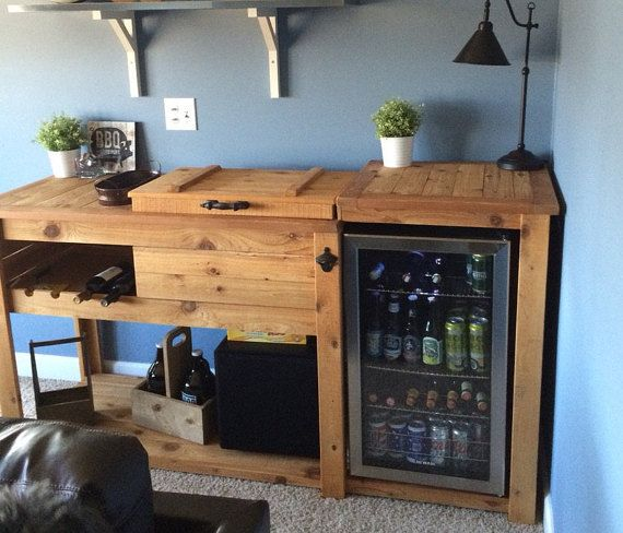 Reclaimed Or Barn Wood Island With Stool Storage Or
