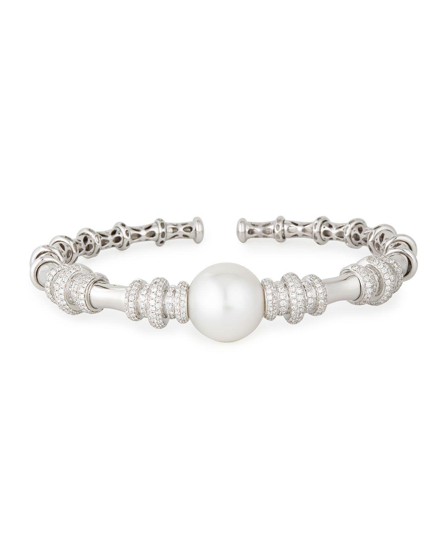 Yoko London 18K White Gold & Pearl Bangle with Diamonds SpEW6CM0p