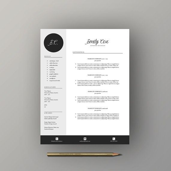 Feminine Resume Template Free Cover Letter By Lecvshoppe On Etsy