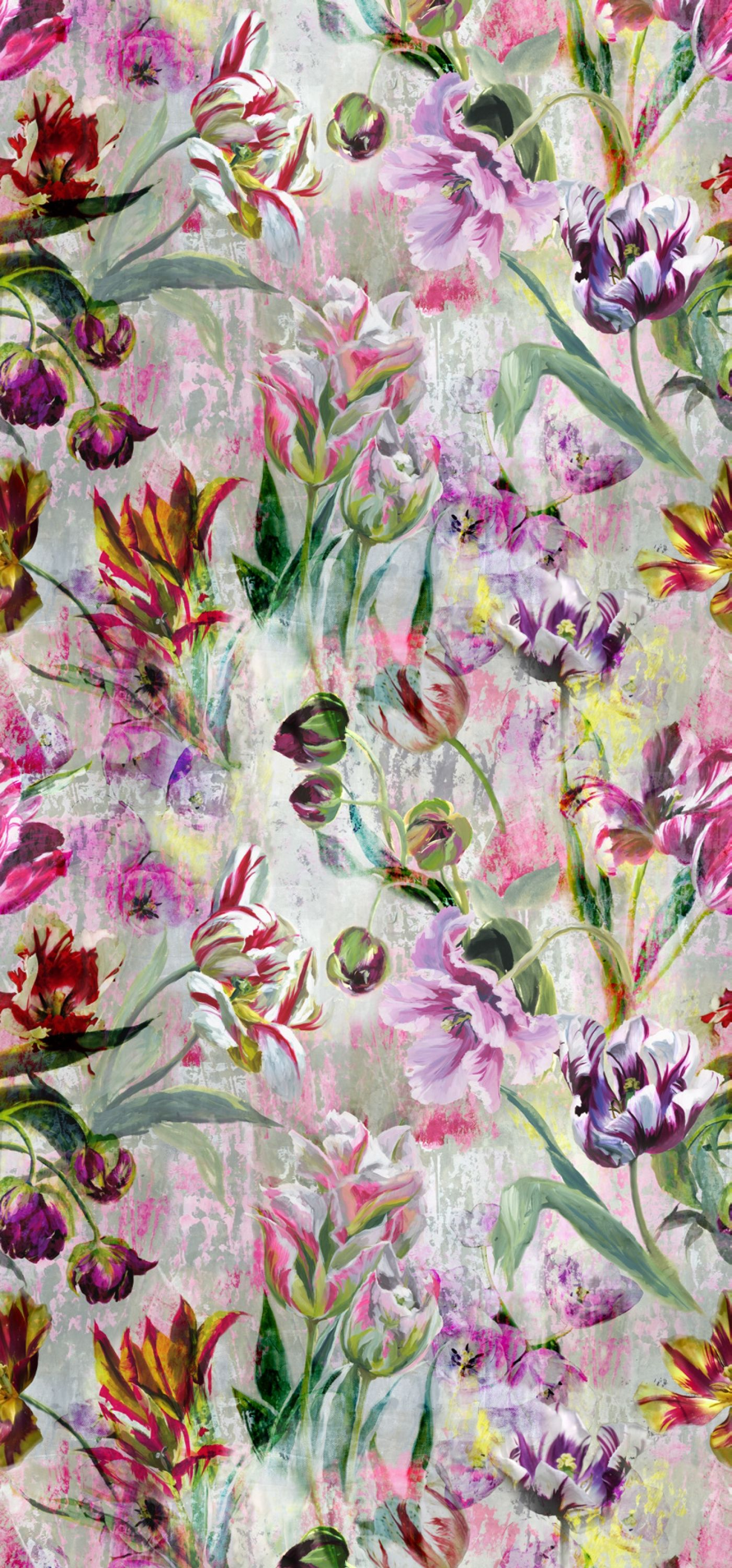 The design of our Tulipa Stellata wallpaper panel seen in