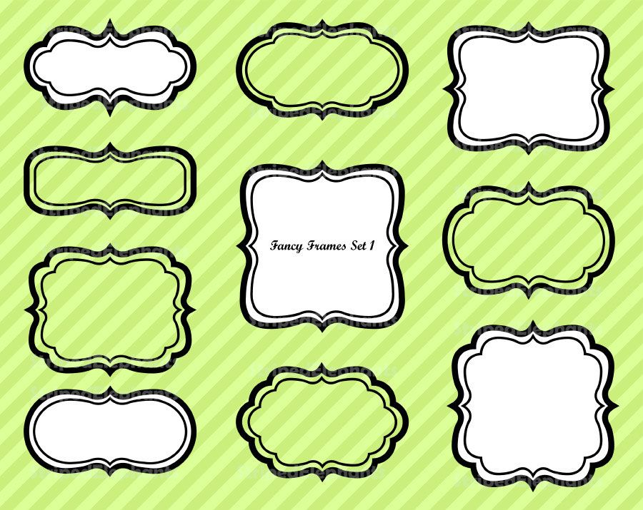 cca12bcec Fancy Frames 1 - Clipart Frames Journaling Spots - Instant Download ...