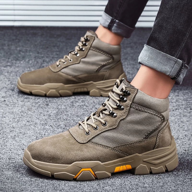 Military Ankle Boots Leather Canvas Outdoor Men's