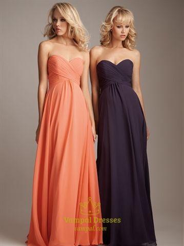 6c829b812b8 LOVE this Chiffon Sweetheart Bridesmaid Dresses Long Empire Waist Formal  Dresses for my ladies (in light pink)
