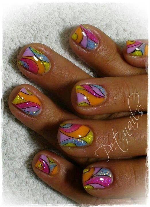 Stain Glass Nail Design Acrylic Rainbow Nail Art Bea You Tiful