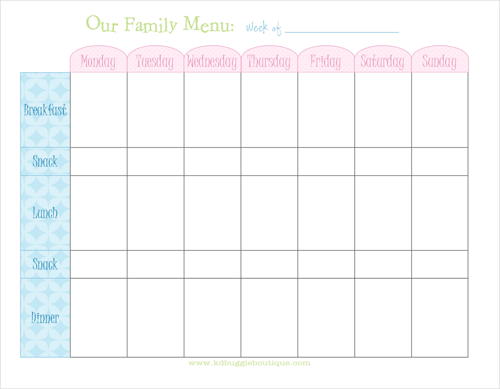 Free Weekly Menu Planner With Snacks  5 Meal Plan  Free Weekly Menu Templates