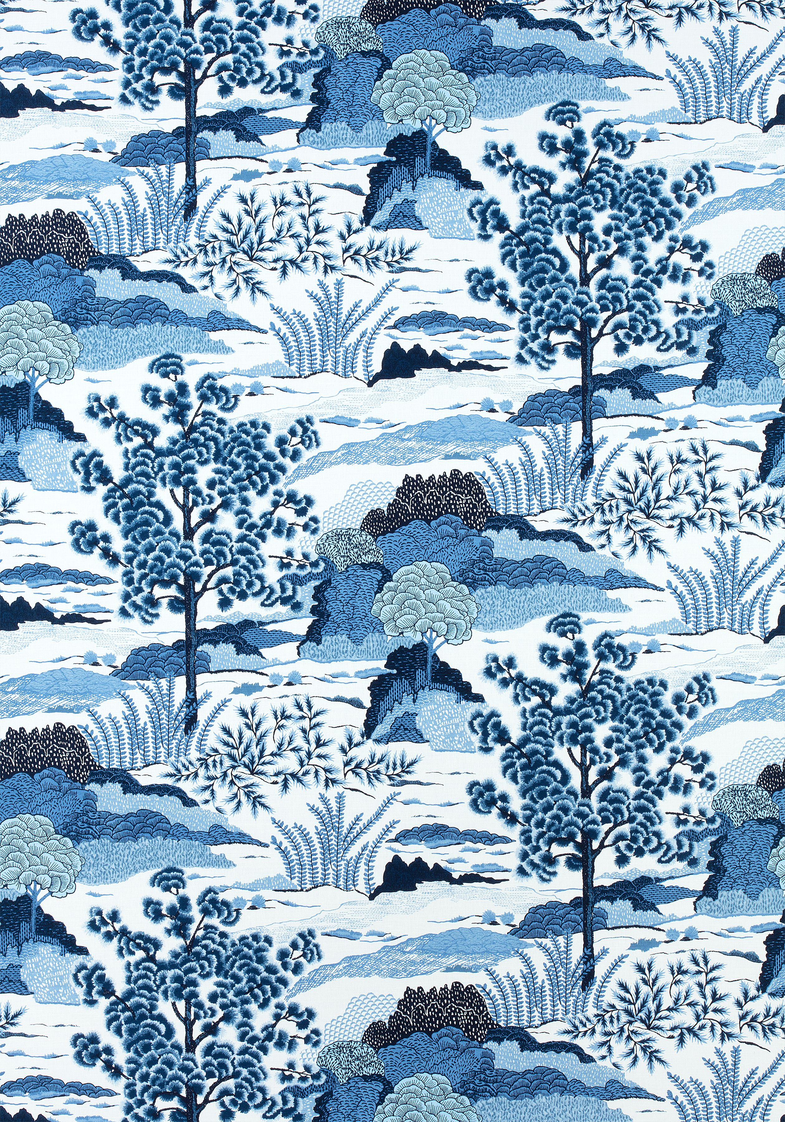 Daintree blue on white f collection greenwood from thibaut