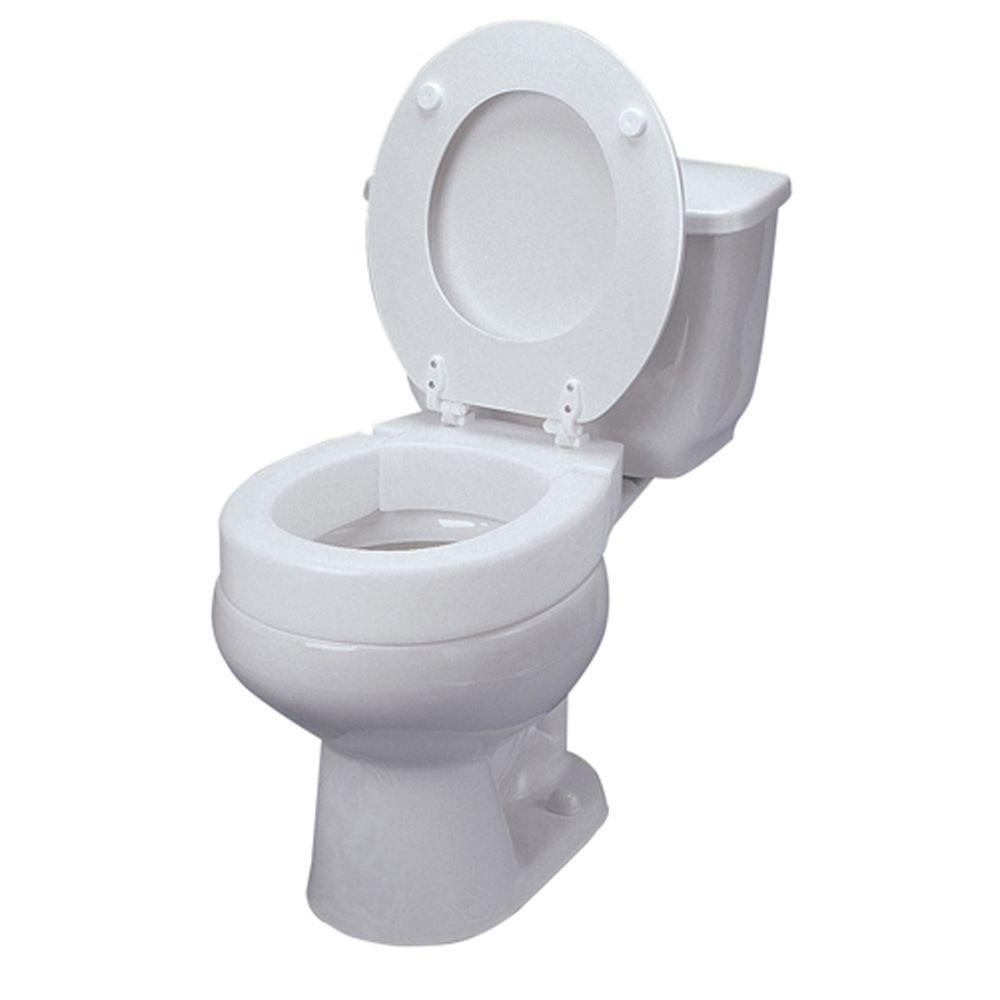 Dmi Elongated Hinged Elevated Toilet Seat In White 641 2571 0005 The Home Depot In 2020 Toilet Seat Elongated Toilet Seat Toilet Installation
