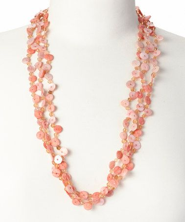 Look at this #zulilyfind! Peach Mother-of-Pearl Shell & Glass Bead Multiple Strand Necklace by ZAD #zulilyfinds