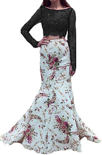 53d94f210f BessDress Long Sleeves Floral Print Prom Dresses Mermaid Two Piece Formal  Evening Gown BD391  clothing  fashion  cheapdeals