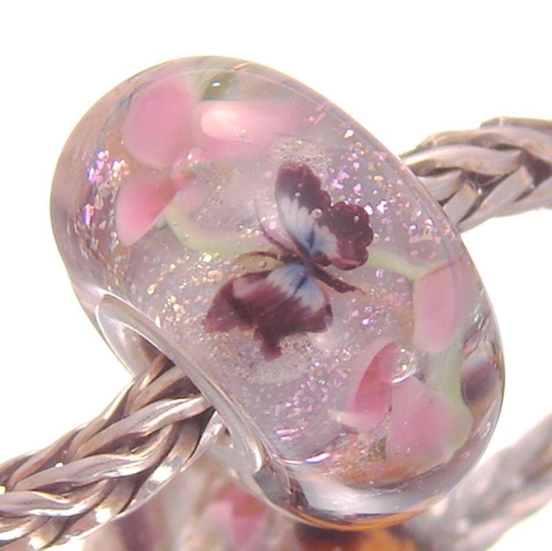 Silver Focal Purple Pink Black Lampwork Bead