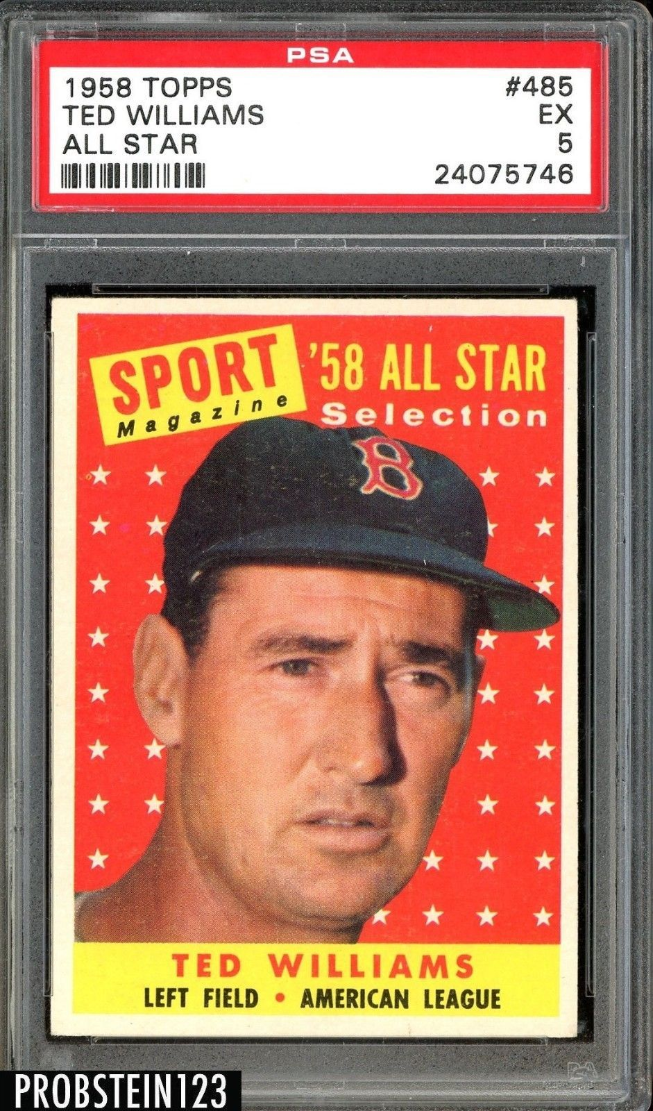 1958 topps 485 ted williams boston red sox all star hof