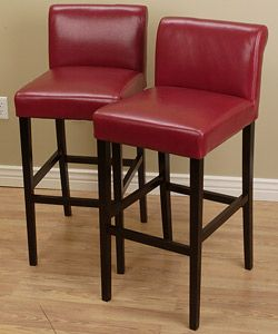 Cosmopolitan Burnt Red Leather Barstools Set Of 2