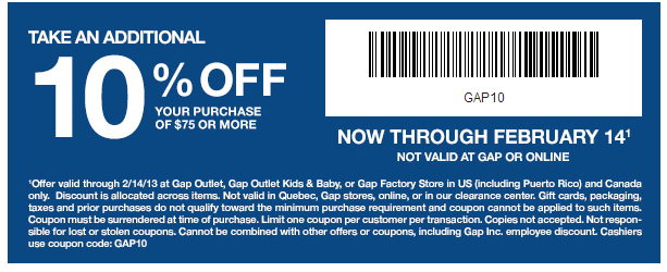 shopping deals gap coupon for 10 off 75 dollar purchase deal coupon savings