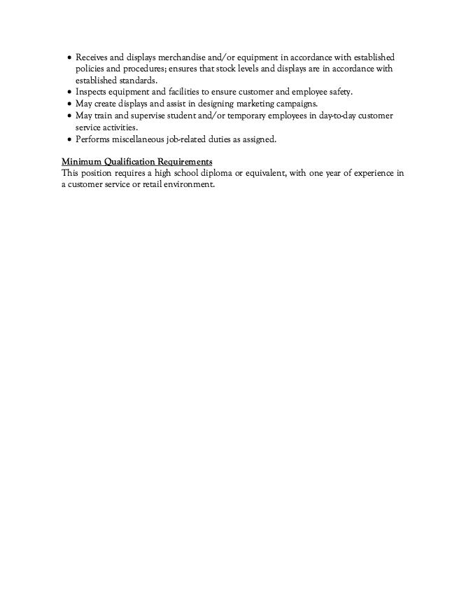 job description for customer service associate