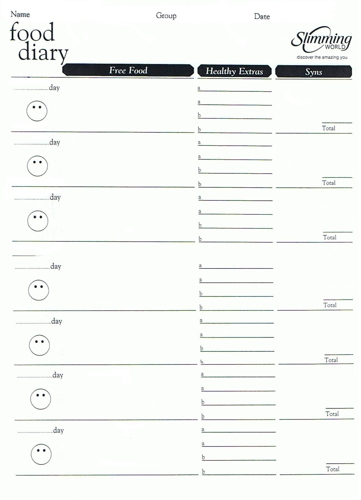 Weight Watchers Menu Planner Template Invitation Templates – Food Diary Template Download