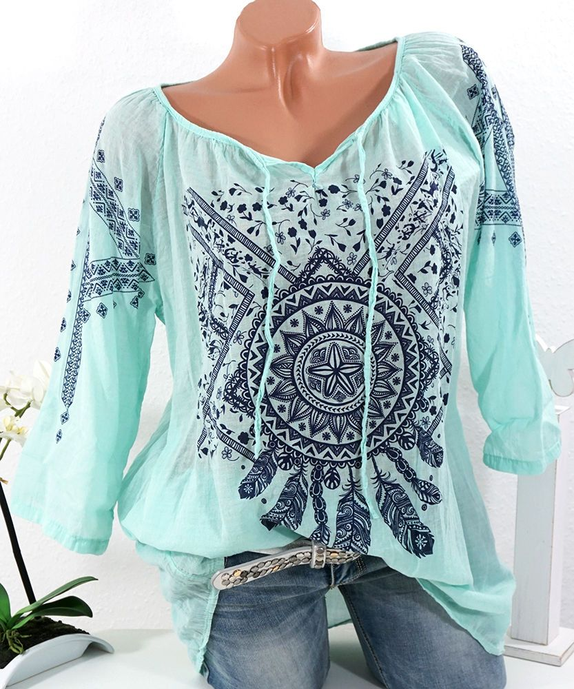 details zu italy bluse tunika hippie h kel blau batik shirt oversize boho 38 40 42 fashion. Black Bedroom Furniture Sets. Home Design Ideas
