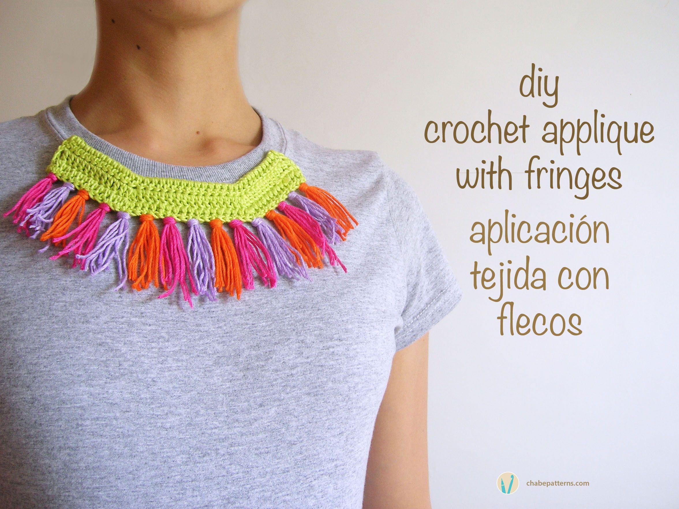 DIY crochet applique with fringes, free pattern/ Patrón gratis ...