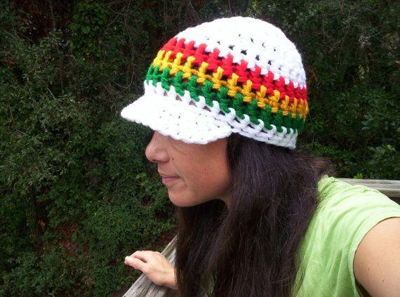 WHITE RASTA HAT Handmade Crochet Cap with Bill Choose SIze ...