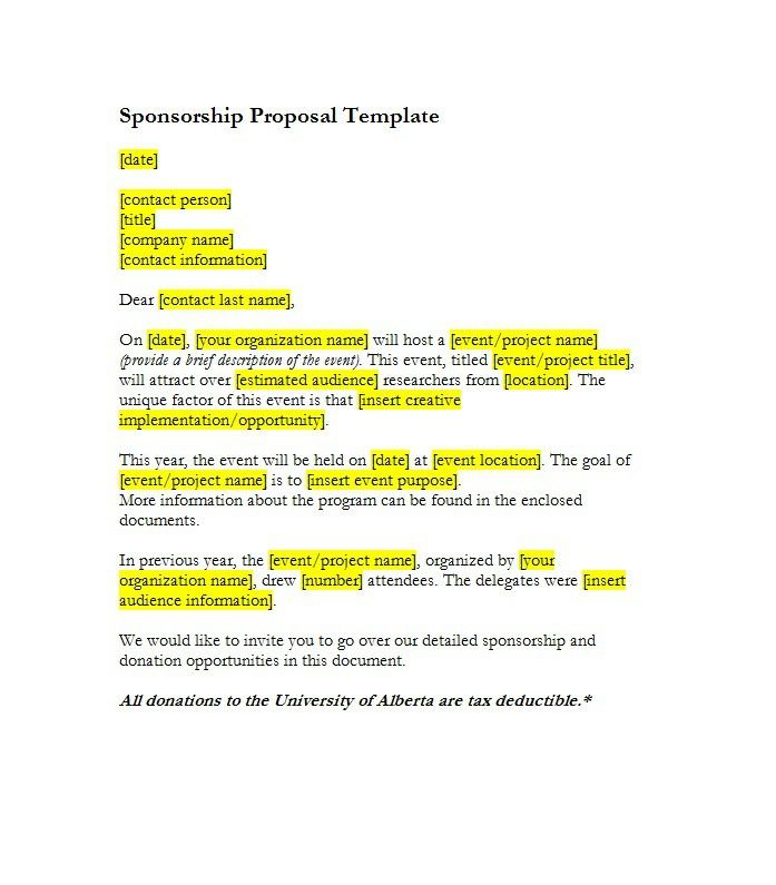 Sponsorship Letter Template 43 Business Docus Pinterest - fundraising proposal template