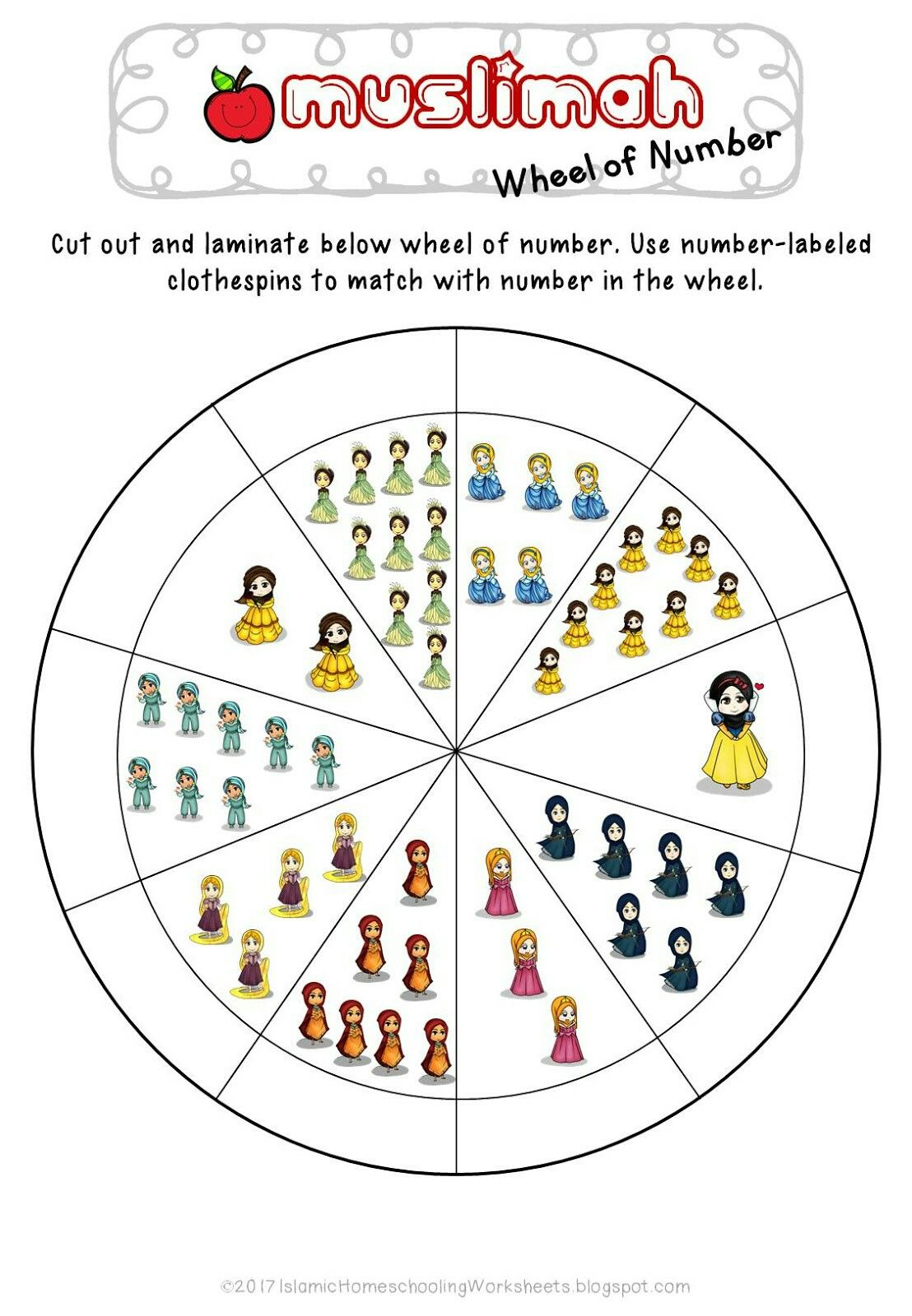Free Muslimah Wheel Of Number In Disney Princess Preschool